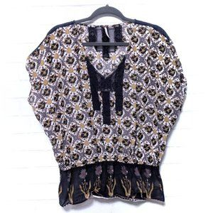 (FREE PEOPLE) Floral Blouson Cotton Lace Top Small